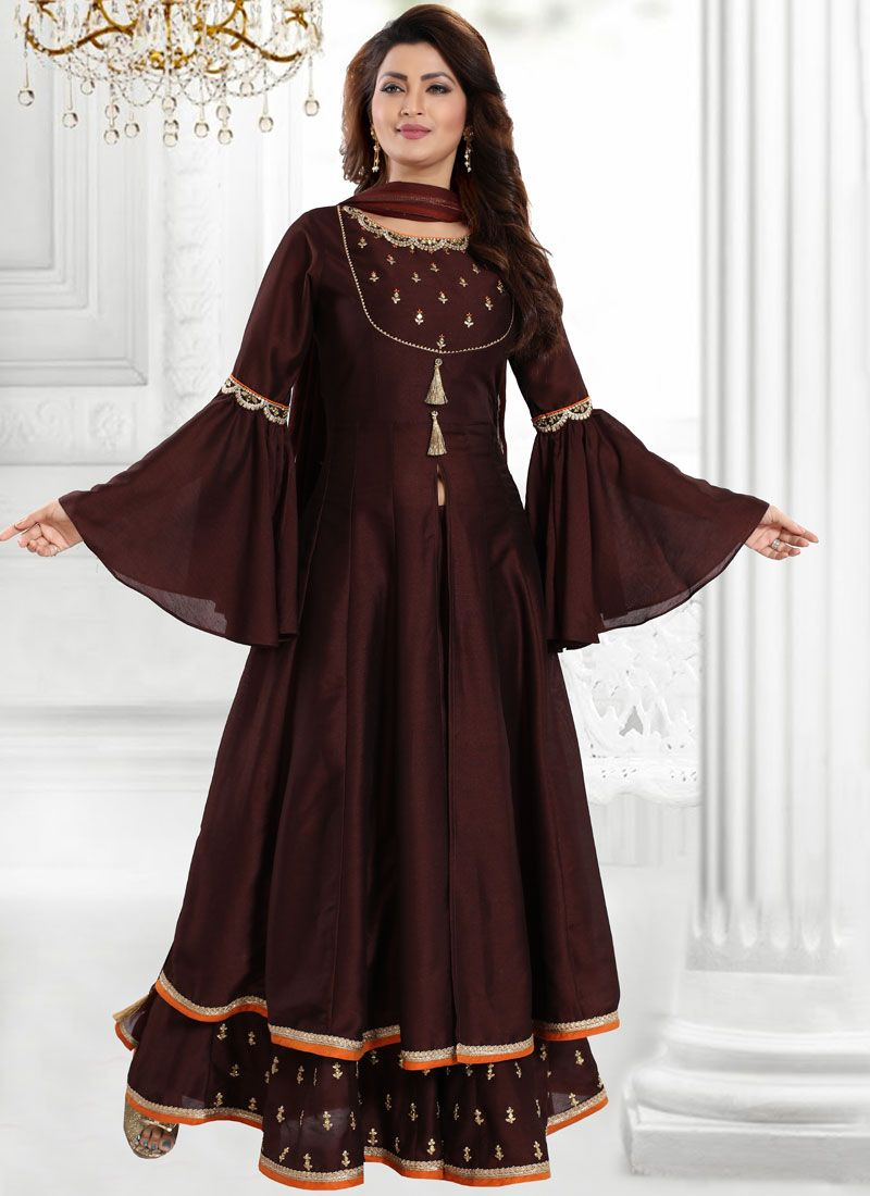 Chanderi Embroidered Brown Designer Palazzo Suit