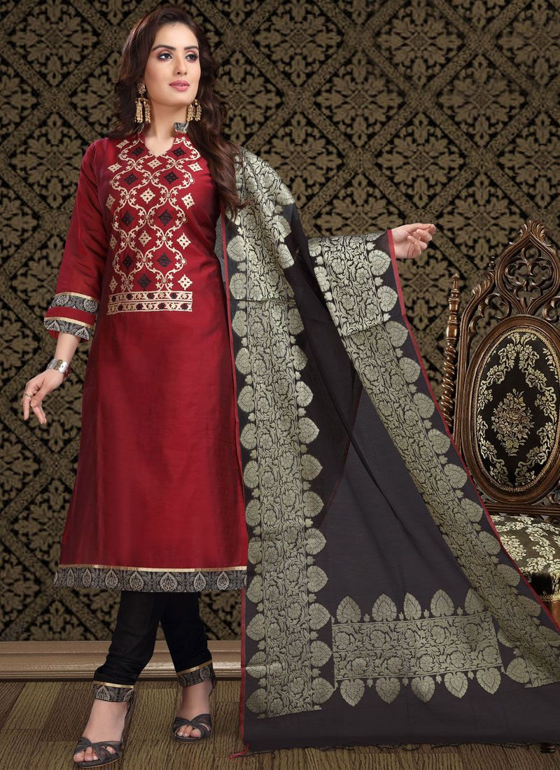 Chanderi Embroidered Churidar Designer Suit