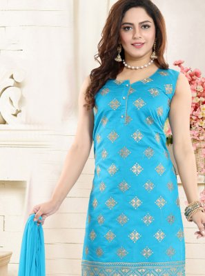 Chanderi Embroidered Churidar Designer Suit in Blue