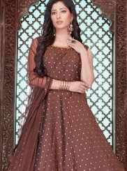 Chanderi Embroidered Designer Gown in Brown