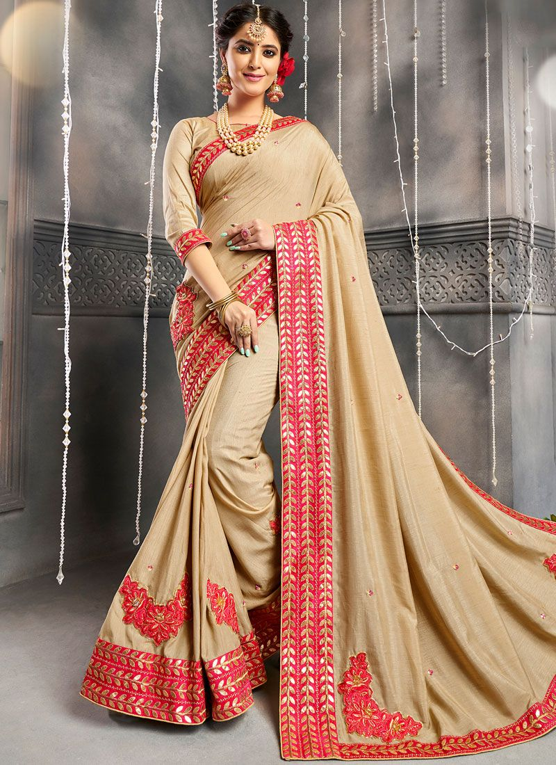 Chanderi Embroidered Designer Saree