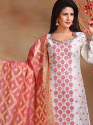 Chanderi Embroidered Designer Straight Suit in White