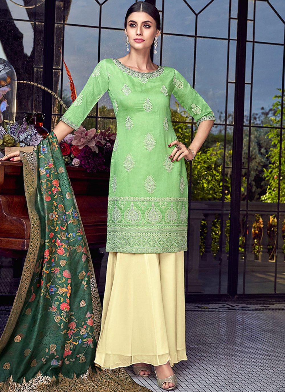 Chanderi Embroidered Green Designer Pakistani Suit