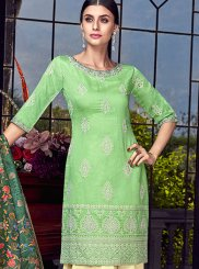 Chanderi Embroidered Green Designer Pakistani Suit