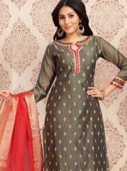 Chanderi Embroidered Grey Churidar Salwar Kameez