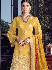 Chanderi Embroidered Mustard Designer Pakistani Suit