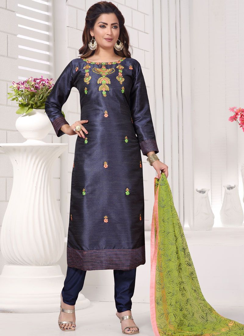 Chanderi Embroidered Navy Blue Readymade Suit