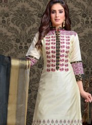 Chanderi Embroidered Off White Churidar Suit