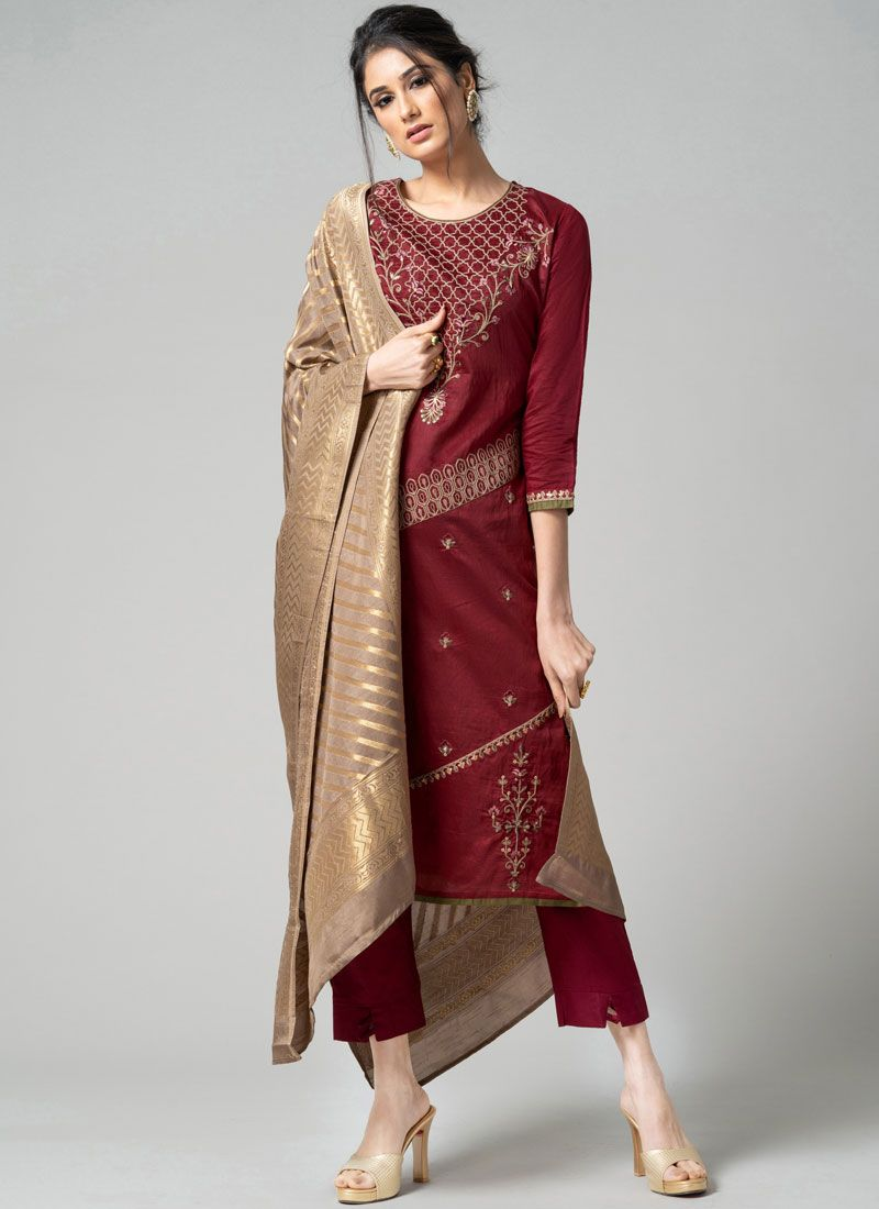 Chanderi Embroidered Pant Style Suit in Maroon