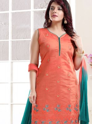 Chanderi Embroidered Peach Churidar Designer Suit