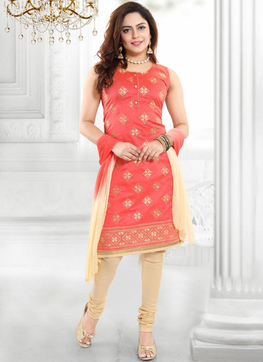 Chanderi Embroidered Peach Churidar Designer Suit