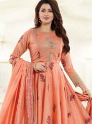 Chanderi Embroidered Peach Desinger Anarkali Salwar Suit