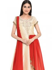 Chanderi Embroidered Readymade Anarkali Salwar Suit in Cream