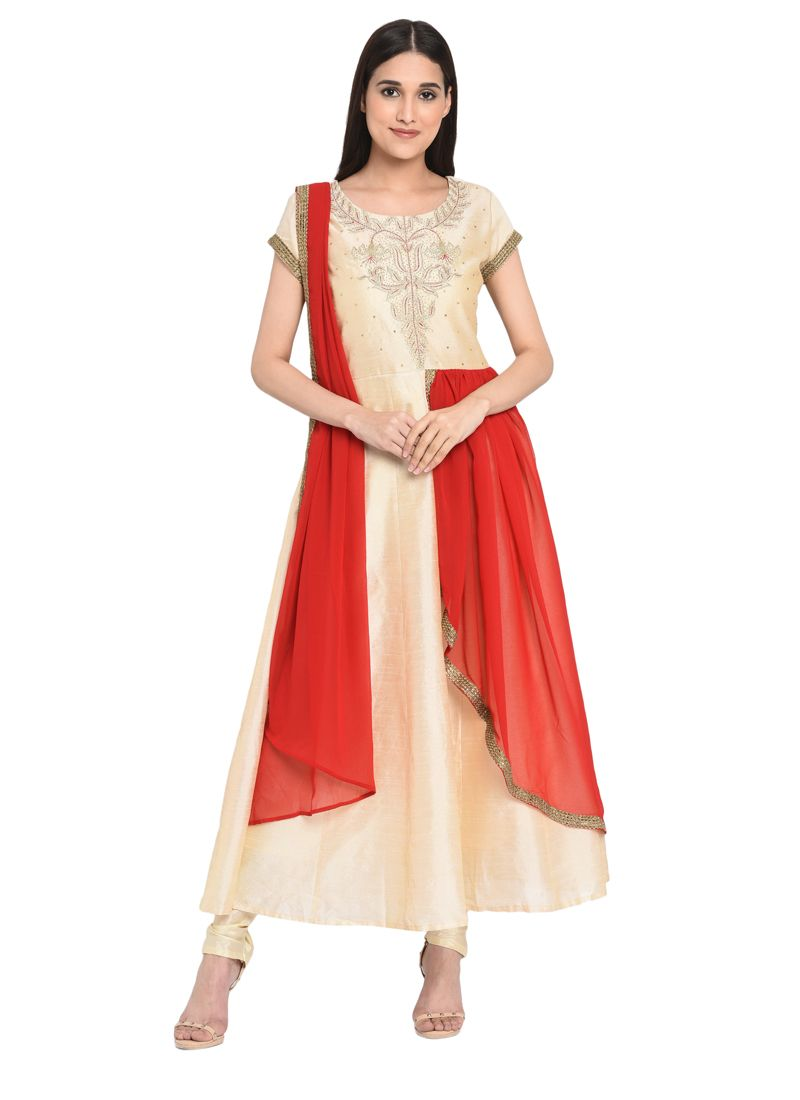 Chanderi Embroidered Readymade Anarkali Salwar Suit in Cream