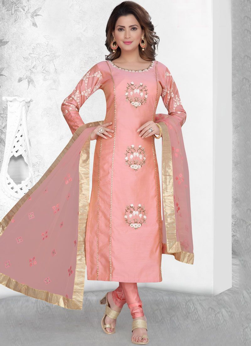 Chanderi Embroidered Readymade Suit in Pink