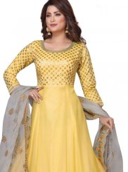 Chanderi Embroidered Readymade Suit in Yellow