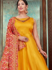 Chanderi Embroidered Yellow Designer Gown