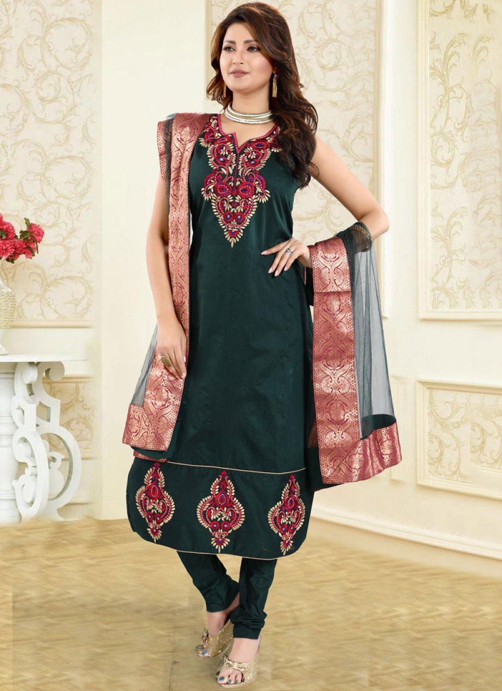 Chanderi Fancy Green Churidar Designer Suit
