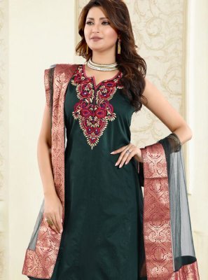 Chanderi Fancy Green Churidar Designer Suit