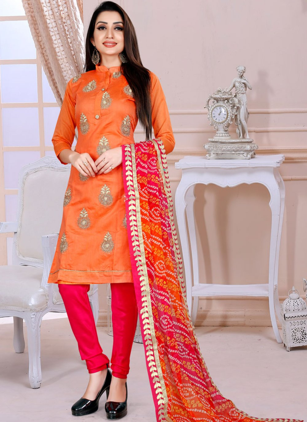 Chanderi Fancy Orange Churidar Designer Suit