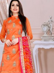 Chanderi Fancy Orange Churidar Designer Suit