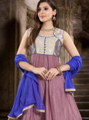 Chanderi Fancy Readymade Suit in Purple