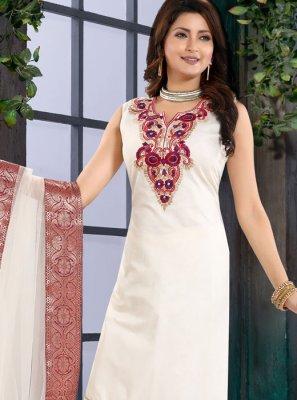 Chanderi Fancy White Churidar Designer Suit