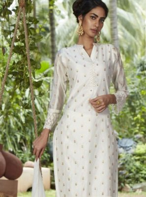 Chanderi Fancy White Readymade Suit