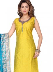 Chanderi Fancy Yellow Readymade Suit