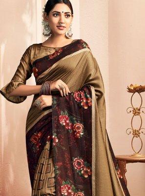 Chanderi Floral Print Classic Designer Saree in Brown