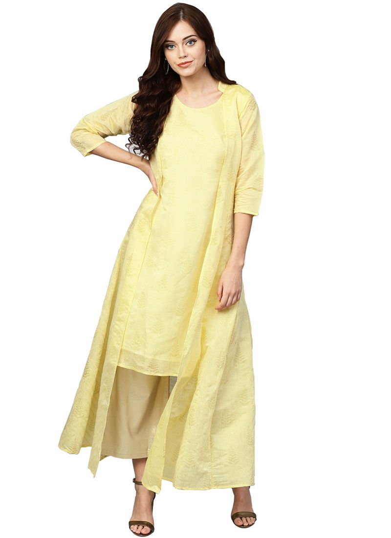 Chanderi Foil print Readymade Designer Suit in Yellow
