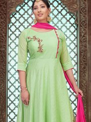 Chanderi Green Designer Gown