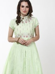 Chanderi Green Embroidered Anarkali Salwar Kameez