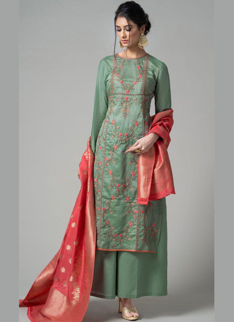 Chanderi Green Embroidered Designer Palazzo Salwar Kameez