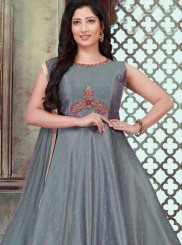 Chanderi Grey Stone Work Designer Gown