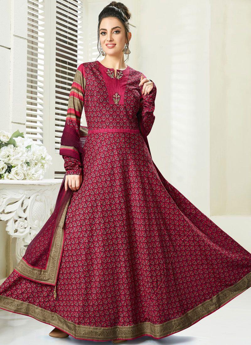 Chanderi Handwork Anarkali Suit in Maroon