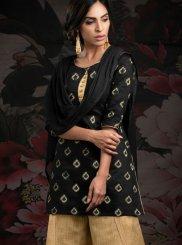 Chanderi Katha Black Designer Palazzo Salwar Kameez
