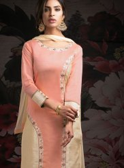 Chanderi Machine Embroidery  Cream and Peach Designer Salwar Kameez