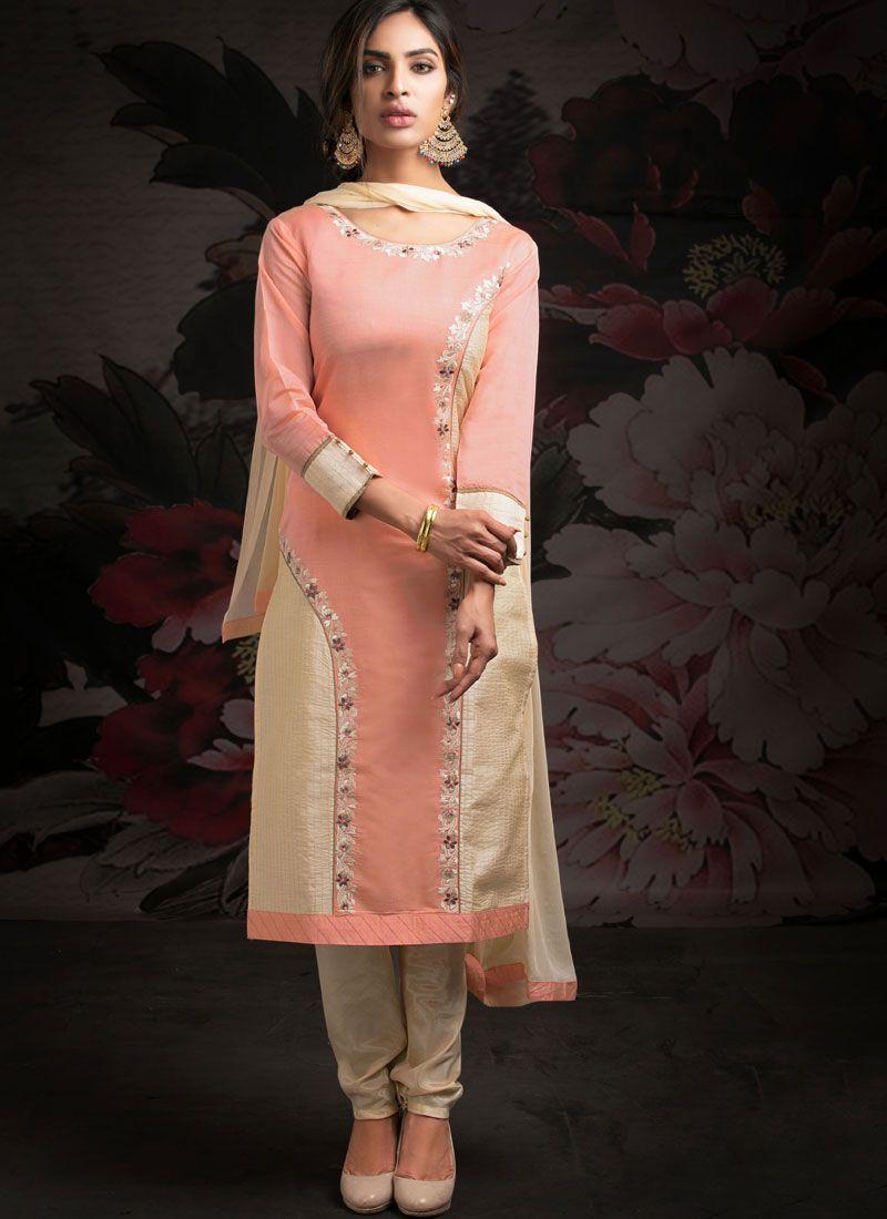 Chanderi Machine Embroidery  Cream and Peach Designer Salwar Kameez