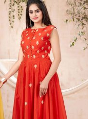 Chanderi Machine Embroidery  Designer Gown in Red