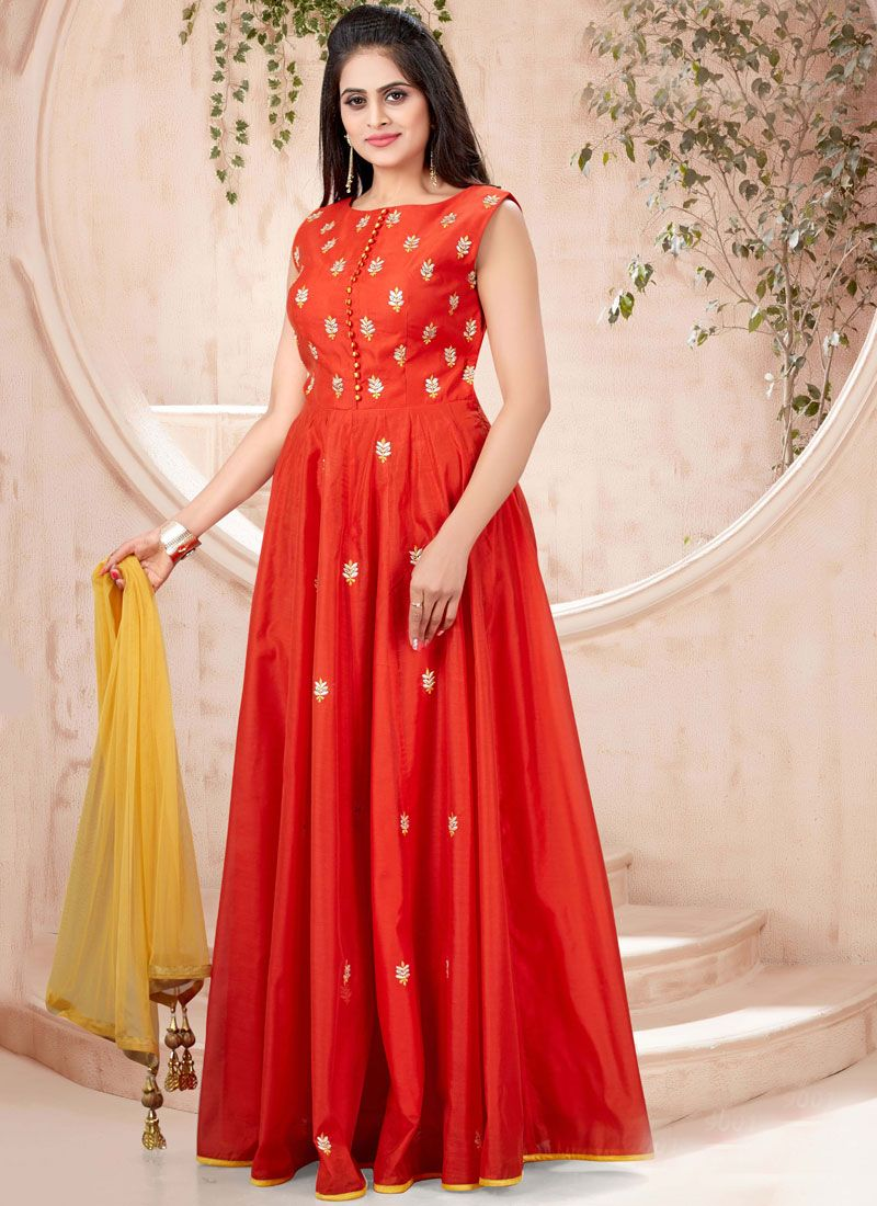 Chanderi Machine Embroidery  Designer Gown in Red