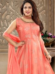 Chanderi Machine Embroidery  Readymade Anarkali Suit in Peach