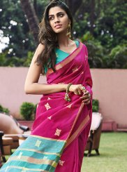 Chanderi Magenta Weaving Designer Saree