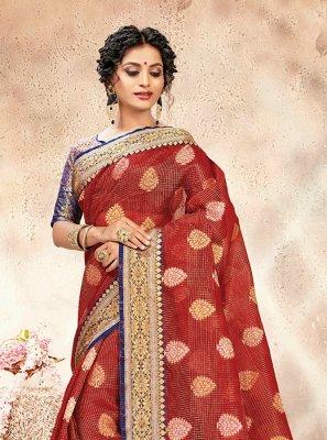 Chanderi Maroon Weaving Traditional Designer Saree