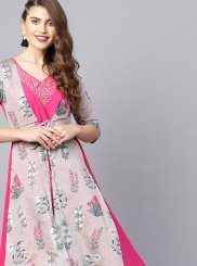 Chanderi Multi Colour Print Party Wear Kurti