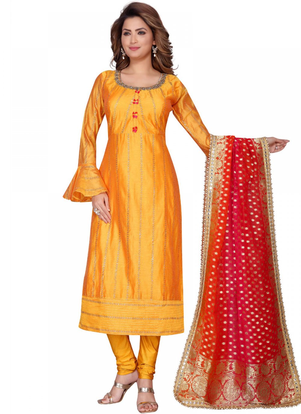 Chanderi Orange Fancy Readymade Suit