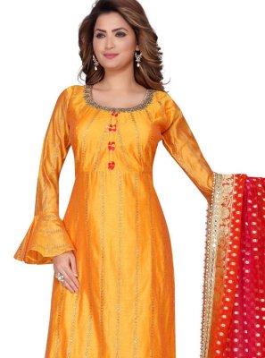 Chanderi Orange Fancy Readymade Suit