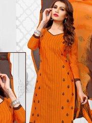 Chanderi Orange Print Churidar Suit
