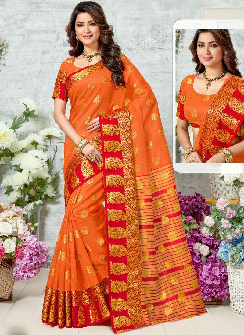 Chanderi Orange Woven Saree