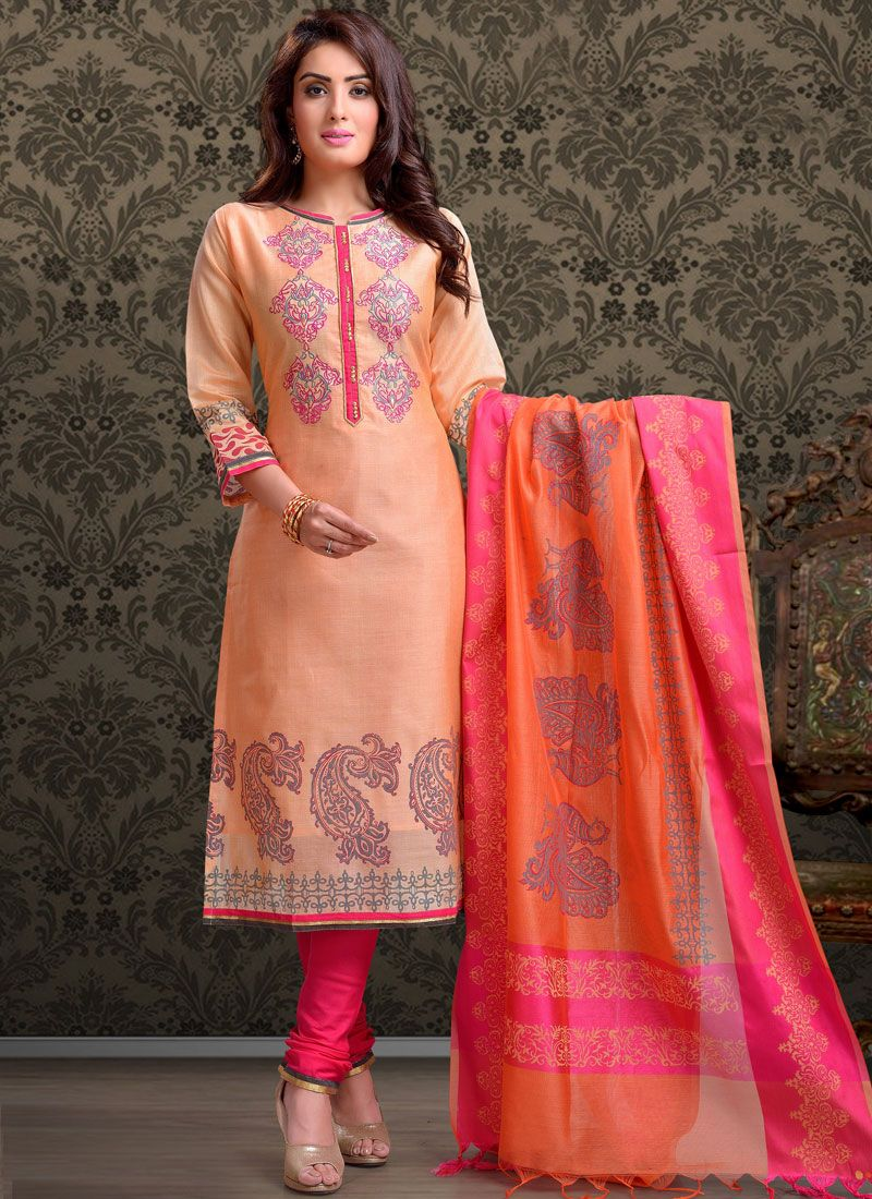 Chanderi Peach Churidar Designer Suit